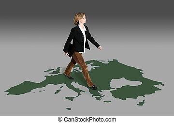 businesswoman walkin