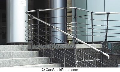 Businesswoman walking up stairs - Female in elegant outfit...