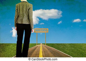 businesswoman walks in a long road searching success