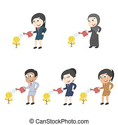 Businesswoman watering coin tree in a different race set