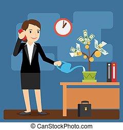 Businesswoman watering money tree