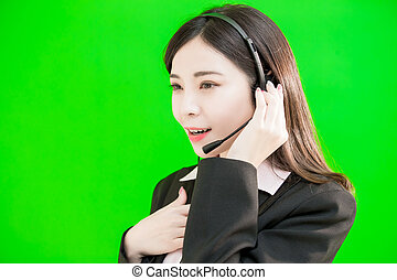 businesswoman wear phone headset