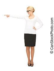 businesswoman, wijzende, haar, vinger
