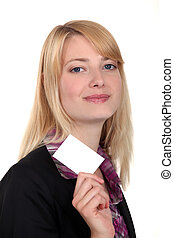 Businesswoman with a blank business card