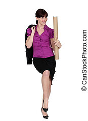 Businesswoman with a cardboard document tube