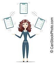 woman with a clipboard with green tick .