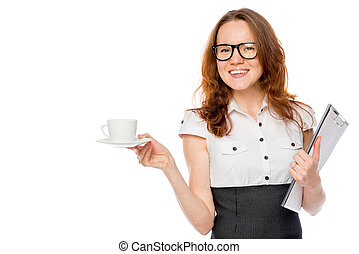 businesswoman with a cup of coffee on a white background