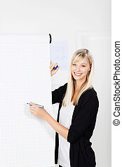 Businesswoman with a flip chart