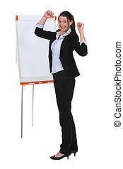Businesswoman with a flipchart