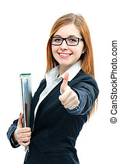 Businesswoman with a folder smiling and showing thumbs up