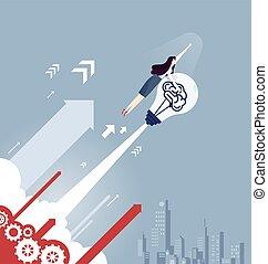 Businesswoman with a light bulb rocket - Business concept vector