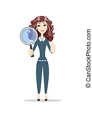 Businesswoman with a magnifying glass