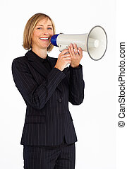 Businesswoman with a megaphone smiling at the camera