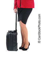 Businesswoman with a suitcase on the white background