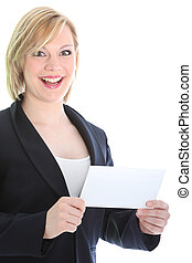 Businesswoman with bank envelope