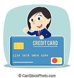 Businesswoman with big credit card