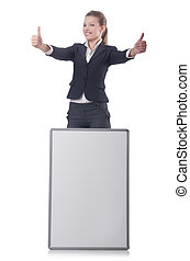Businesswoman with billboard