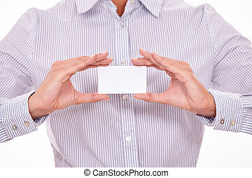 Businesswoman with blank visit card, cropped