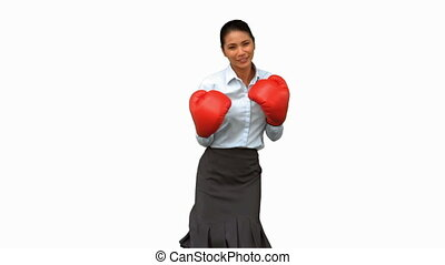 Businesswoman with boxing gloves hi