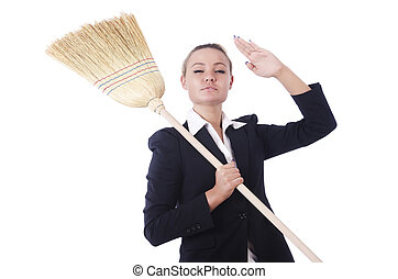 Businesswoman with brush isolated on white