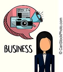 businesswoman with business elements in bubble chat