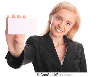 Businesswoman with card