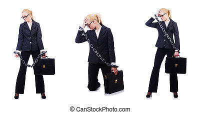 Businesswoman with chain isolated on the white