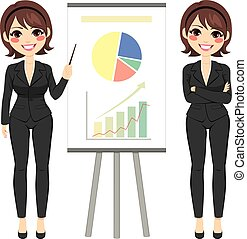 Businesswoman explaining finances concept happy smiling standing next to flip board and pointing hand at growth chart