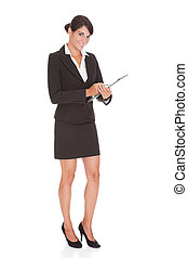 Young Happy Businesswoman Holding Clipboard Over White Background
