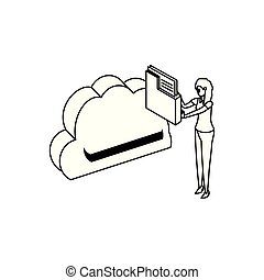 businesswoman with cloud computing and folder