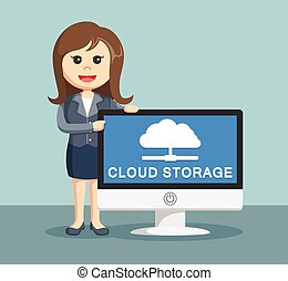 businesswoman with cloud storage