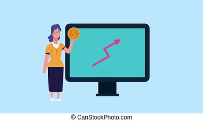 businesswoman with coin dollar and desktop animated ,4k ...