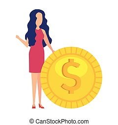 businesswoman with coin money