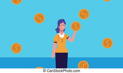 businesswoman with coins dollars character animated ,4k ...