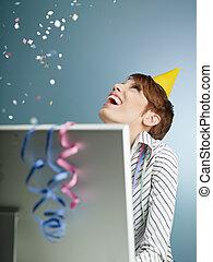 businesswoman with confetti