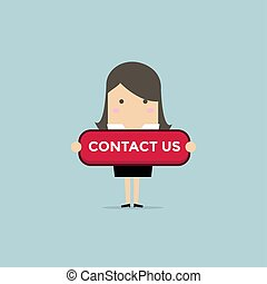 Businesswoman with contact us button.