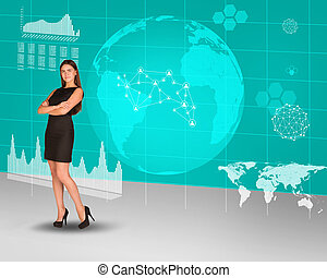 Businesswoman with crossed arms and Earth