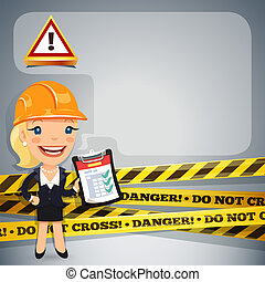 Businesswoman With Danger Tapes. In the EPS file, each element is grouped separately. Clipping paths included in additional jpg format.