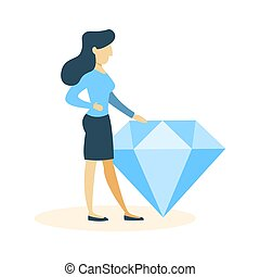 Businesswoman with diamond.