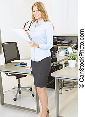 Businesswoman with document