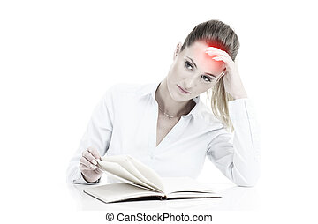 Businesswoman with documents having headache