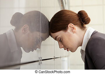 Businesswoman with emotional stress. Fatigue. - ...
