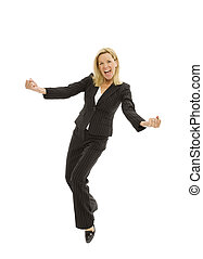 Businesswoman with excitement - Businesswoman in a suit ...