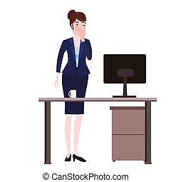 Businesswoman with facepalm gesture. Headache, ...