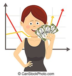 Businesswoman with fan of money over positive graph