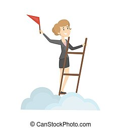 Businesswoman with flag.