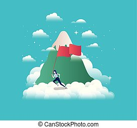 businesswoman with flag competing in the sky and mountain