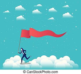 businesswoman with flag competing in the sky
