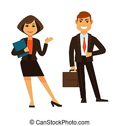 Businesswoman holding blue folder and businessman with brown briefcase standing isolated on white vector colorful poster in flat design. Smiling couple of co-worker wearing suits with office equipment