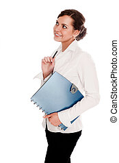 businesswoman with folder in hand on a white background